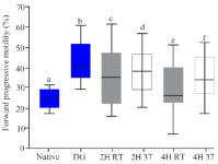 Figure 2. The rate of forward progressive motility in native semen, after DG preparation and in vitro culture, boxes depict the 25th and 75th percentiles with indication of the median, and whiskers depict the 10th and 90th percentiles, a, b (p<0.0001), b, c (p=0.0.001), b, d (p=0.02), b, e (p<0.001), b, f (p=0.001) c, d (p=0.5), e, f (p=0.1)