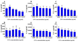 Figure 7. Effect of LPS and LTA on cytokine production by WECs. WECs were treated with different concentrations of LPS; A-C: or LTA; D-F: and the levels of IL-6; A, D: IL-8; B, E: and TNF-α; C, F: were measured by capture ELISA. Control wells received vehicle